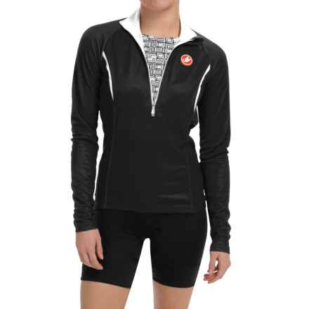 Castelli Cromo Cycling Jersey - Zip Neck, Long Sleeve (For Women) in Black/White - Closeouts