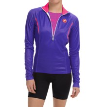 Castelli Cromo Cycling Jersey - Zip Neck, Long Sleeve (For Women) in Navy Blue/Raspberry - Closeouts