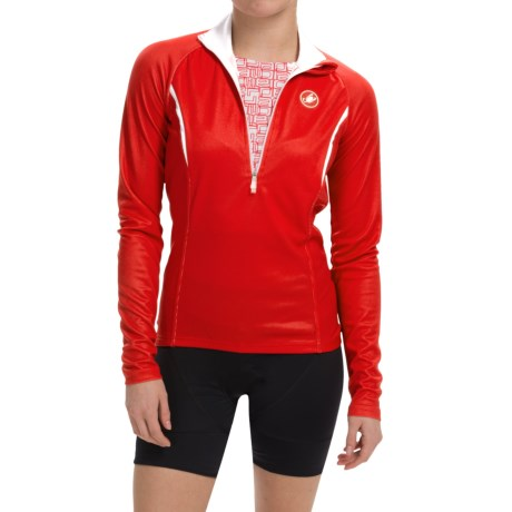 Castelli Cromo Cycling Jersey - Zip Neck, Long Sleeve (For Women) in Red/White