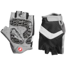 Castelli Elite Gel Cycling Gloves (For Women) in Black/White/Silver Piping - Closeouts