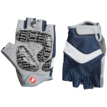 Castelli Elite Gel Cycling Gloves (For Women) in White/Navy/Cyclamen Piping - Closeouts
