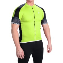 Castelli Entrata Cycling Jersey - Full Zip, Short Sleeve (For Men) in Yellow Fluo/Black - Closeouts