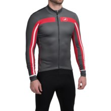 Castelli Free 3 Cycling Jersey - Full Zip, Long Sleeve (For Men) in Turbulence/Red - Closeouts