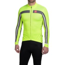 Castelli Free 3 Cycling Jersey - Full Zip, Long Sleeve (For Men) in Yellow Fluo/Anthracite - Closeouts