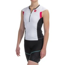 Castelli Free Capsleeve Tri Top - Zip Neck, Short Sleeve (For Women) in White/Black/Pink - Closeouts
