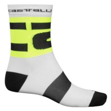 Castelli Free Cycling Socks - Crew (For Men) in White/Yellow Fluo - Closeouts