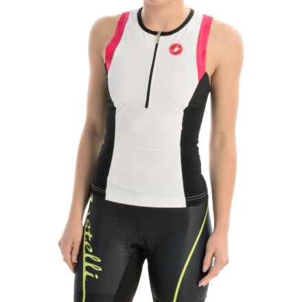 Castelli Free Tri Singlet - Zip Neck, Sleeveless (For Women) in White/Black/Pink - Closeouts