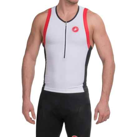 Castelli Free Tri Top - Zip Neck, Sleeveless (For Men) in White/Black/Red - Closeouts