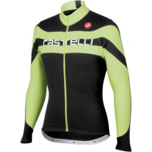 Castelli Giro Cycling Jersey - Full Zip, Long Sleeve (For Men) in Black/Green Fluo/White Text - Closeouts