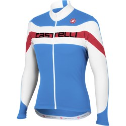 Castelli Giro Cycling Jersey - Full Zip, Long Sleeve (For Men) in Ocean/White/Black Text