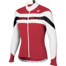 Castelli Giro Cycling Jersey - Full Zip, Long Sleeve (For Men) in Red/White/Red Text - Closeouts