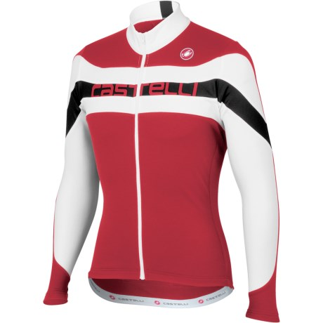 Castelli Giro Cycling Jersey - Full Zip, Long Sleeve (For Men) in Red/White/Red Text