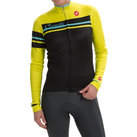 Castelli Girone Cycling Jersey Full Zip, Long Sleeve (For Women)