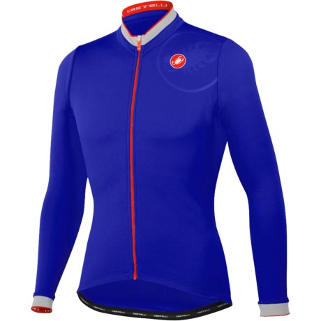 Castelli GPM Cycling Jersey - Full Zip, Long Sleeve (For Men) in 057 Deep Blue