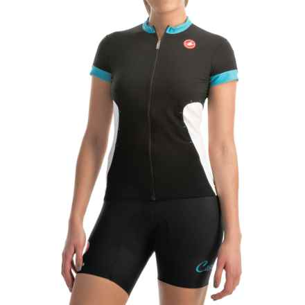 Castelli Gustosa FZ Cycling Jersey - Full Zip, Short Sleeve (For Women) in Black/Atoll Blue/White - Closeouts