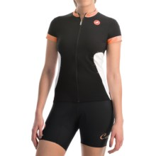 Castelli Gustosa FZ Cycling Jersey - Full Zip, Short Sleeve (For Women) in Black/Light Orange/Turbulence - Closeouts