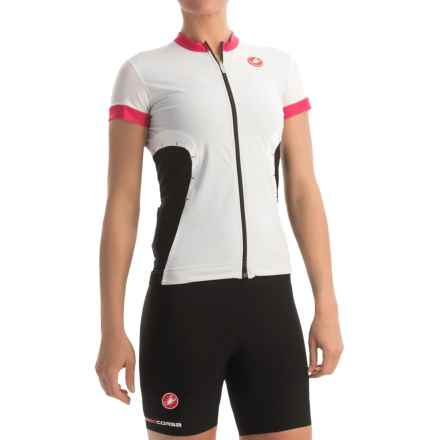 Castelli Gustosa FZ Cycling Jersey - Full Zip, Short Sleeve (For Women) in White/Raspberry/Black - Closeouts