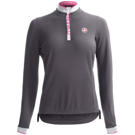 Castelli Perla Winter Cycling Jersey - Zip Neck, Long Sleeve (For Women) in Anthracite