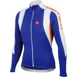 Castelli Premio Cycling Jersey - Full Zip, Long Sleeve (For Men) in Deep Blue/White/Mandarin