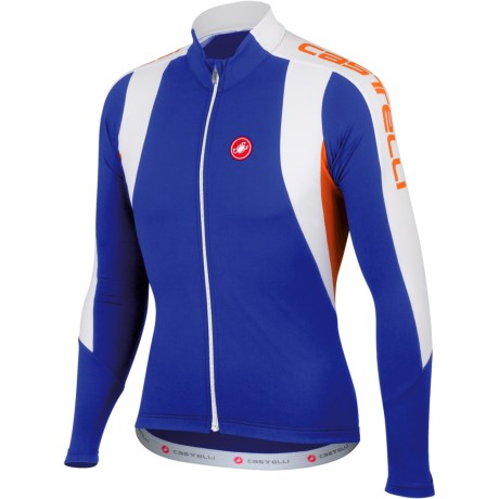 Castelli Premio Cycling Jersey - Full Zip, Long Sleeve (For Men) in Deep Blue/White/Mandarin