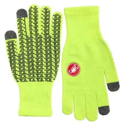 Castelli Prima Cycling Gloves - Full Finger, Touchscreen Compatible (For Men) in Green Fluo - Closeouts