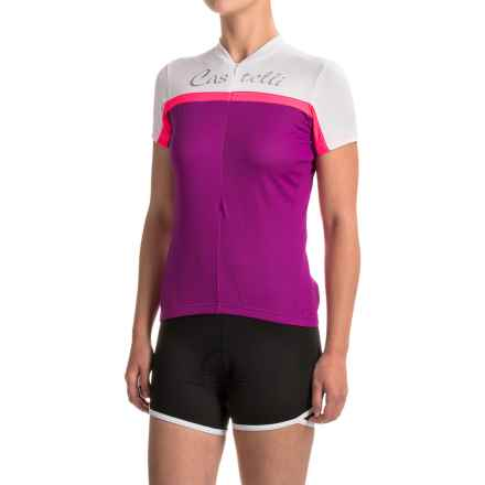 Castelli Promessa Cycling Jersey - Zip Neck, Short Sleeve (For Women) in Cyclamen/White/Pink Fluo - Closeouts