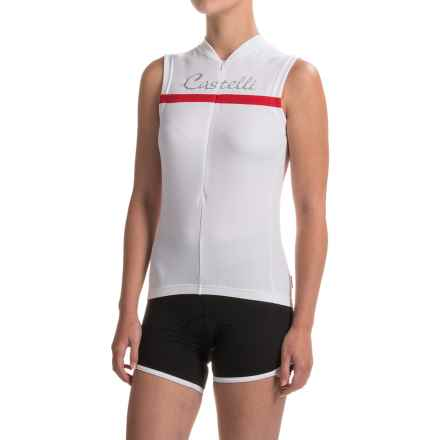 Castelli Promessa Cycling Jersey - Zip Neck, Sleeveless (For Women) in White/White/Red - Closeouts
