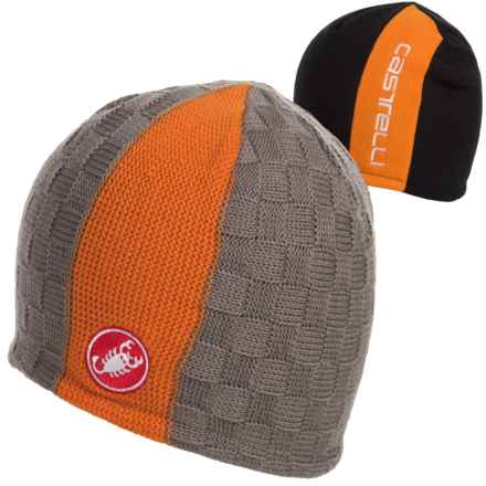 Castelli Reversible 2 Beanie (For Men) in Grey/Orange-Insidebalck/Orange - Closeouts