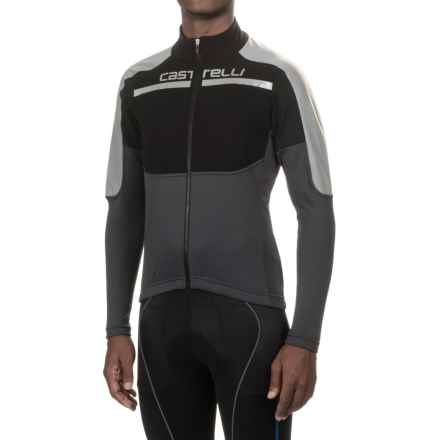 Castelli Secondo Strato Reflex Cycling Jersey - Full Zip, Long Sleeve (For Men) in Black/Reflex/Anthracite - Closeouts