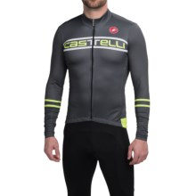 Castelli Segno Cycling Jersey - Long Sleeve (For Men) in Turbulence/Yellow Fluo - Closeouts