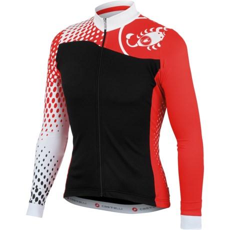 Castelli Sfida Cycling Jersey - Full Zip, Long Sleeve (For Men) in Black/White/Grey