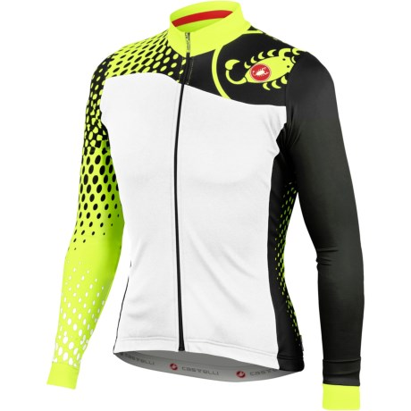 Castelli Sfida Cycling Jersey - Full Zip, Long Sleeve (For Men) in White/Yellow Fluo/Black