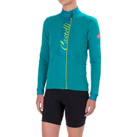 Castelli Sorriso Cycling Jersey - Full Zip, Long Sleeve (For Women) in Laguna/Deep Ocean - Closeouts