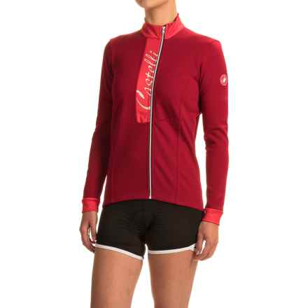 Castelli Sorriso Cycling Jersey - Full Zip, Long Sleeve (For Women) in Ruby Red/Red - Closeouts