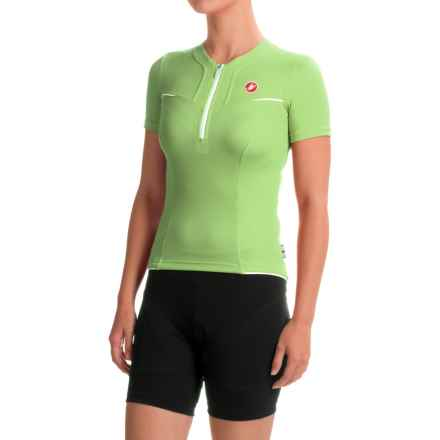 Castelli Subito Cycling Jersey - Zip Neck, Short Sleeve (For Women) in Green - Closeouts
