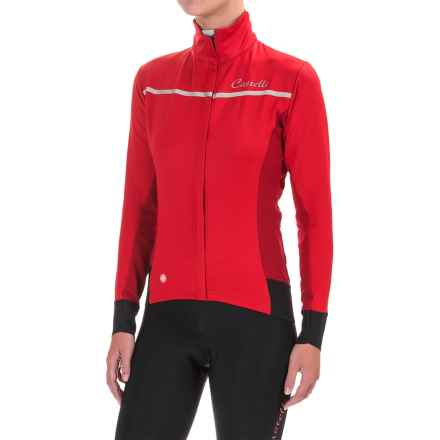 Castelli Trasparente 3 Windstopper® Cycling Jersey - Full Zip, Long Sleeve (For Women) in Red/Ruby Red - Closeouts