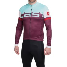 Castelli Unavolta Cycling Jersey - Full Zip, Long Sleeve (For Men) in Bordeaux/Azure - Closeouts