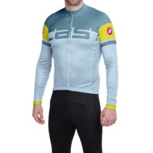 Castelli Unavolta Cycling Jersey - Full Zip, Long Sleeve (For Men) in Ice/Blue Stone - Closeouts