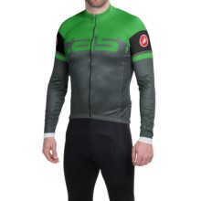 Castelli Unavolta Cycling Jersey - Full Zip, Long Sleeve (For Men) in Turbulence/Kelly Green - Closeouts
