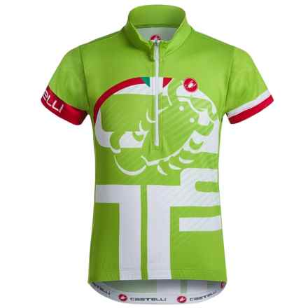 Castelli Veleno Cycling Jersey - Zip Neck, Short Sleeve (For Big Kids) in Sprint Green - Closeouts