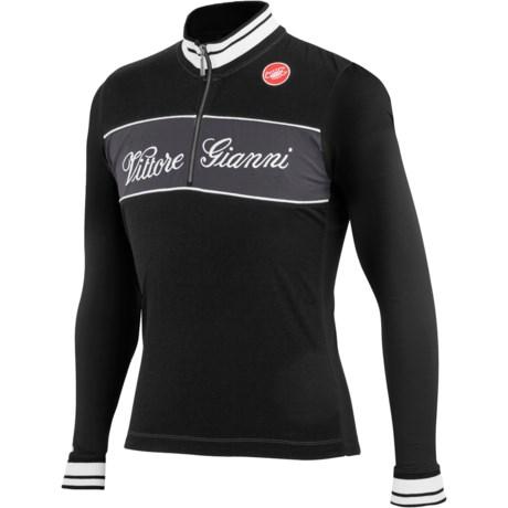 Castelli Vittore Gianni Cycling Jersey - Merino Wool, Long Sleeve (For Men) in Black
