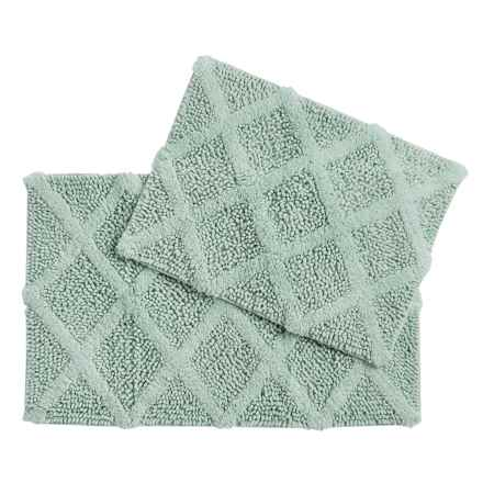 Castile Home Textiles Diamond-Patterned Bath Rug - 2-Pack, Cotton Chenille in Solid Aqua - Overstock