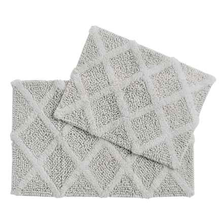 Castile Home Textiles Diamond-Patterned Bath Rug - 2-Pack, Cotton Chenille in Solid Silver - Overstock
