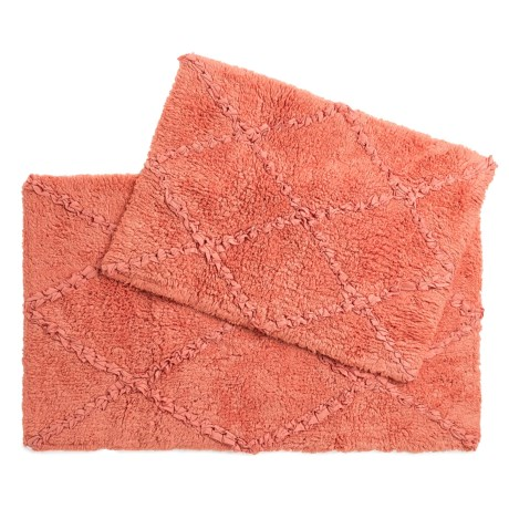 Castile Home Textiles Diamond-Patterned Ruffled Bath Rugs - 2-Pack, Cotton in Burnt Coral