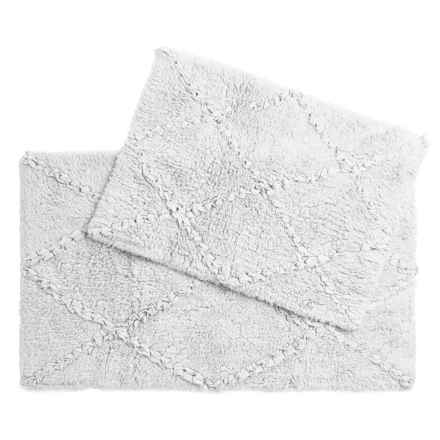 Castile Home Textiles Diamond-Patterned Ruffled Bath Rugs - 2-Pack, Cotton in White - Overstock