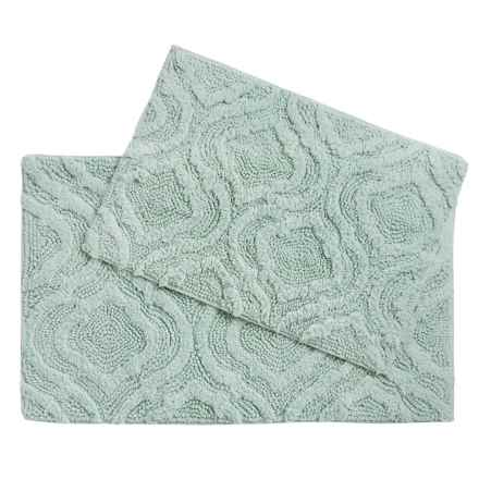 Castile Home Textiles Geo-Patterned Bath Rugs - 2-Pack, Cotton Chenille in Solid Aqua - Overstock