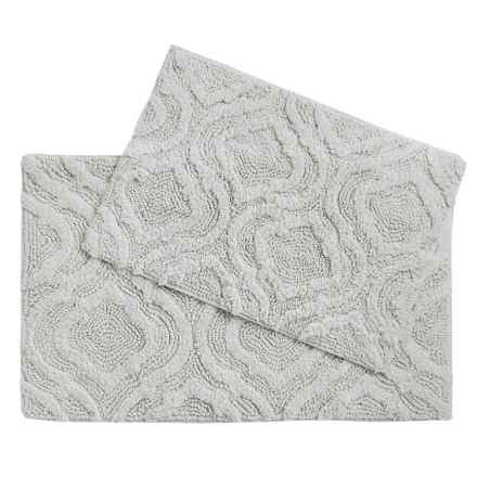 Castile Home Textiles Geo-Patterned Bath Rugs - 2-Pack, Cotton Chenille in Solid Silver - Overstock