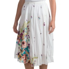 Casual Studio Crinkle Skirt - Cotton (For Women) in White Floral - Closeouts