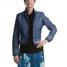 Casual Studio Embroidered Denim Jacket - Mandarin Collar (For Women) in Denim - Closeouts
