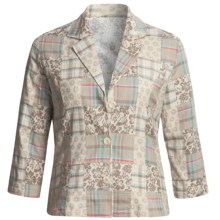Casual Studio Madras Plaid Patch Jacket - Cotton (For Women) in Beige - Closeouts